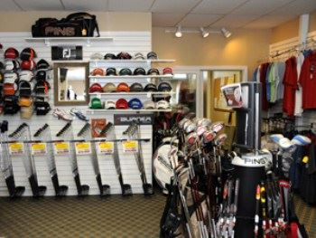 A pro shop full of golf gear.