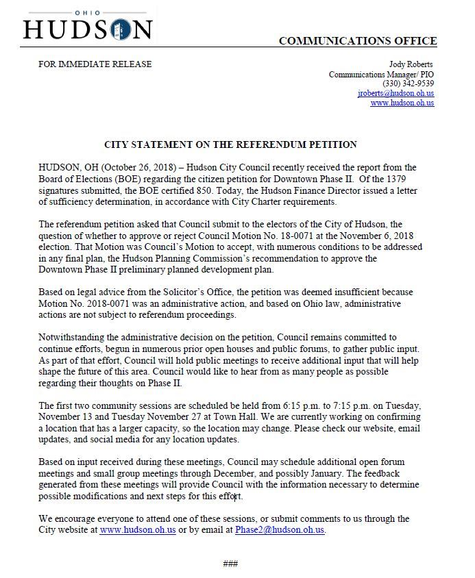 City Statement on Referendum Image