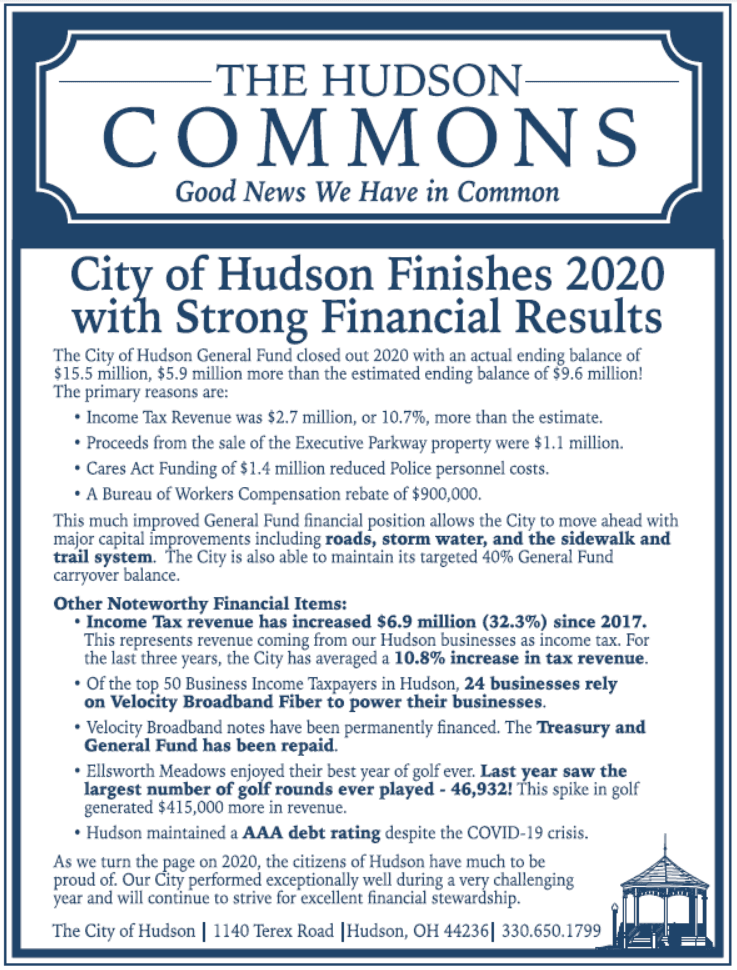 Hudson Commons - Strong Financial Results 2020